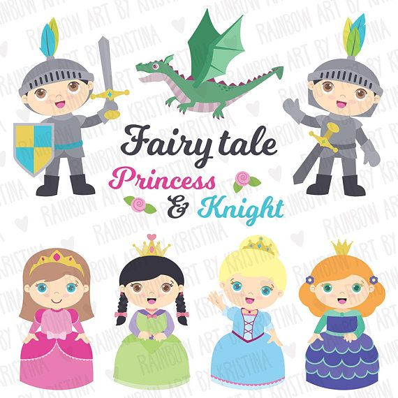 Cute fairy tale princesses. Babies clipart knight