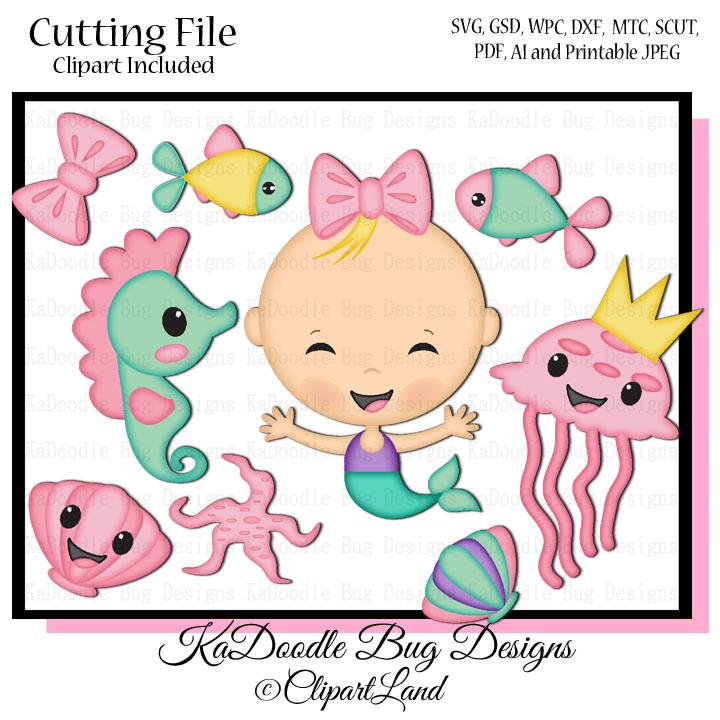 Friends kadoodle bug designs. Baby clipart mermaid