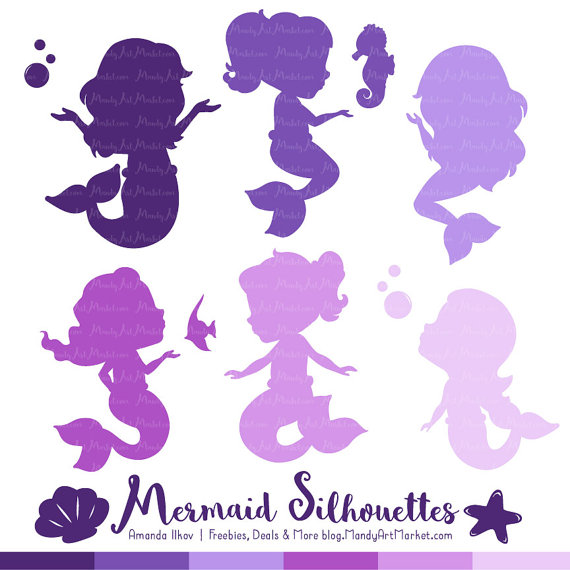 Professional silhouettes in shades. Baby clipart mermaid