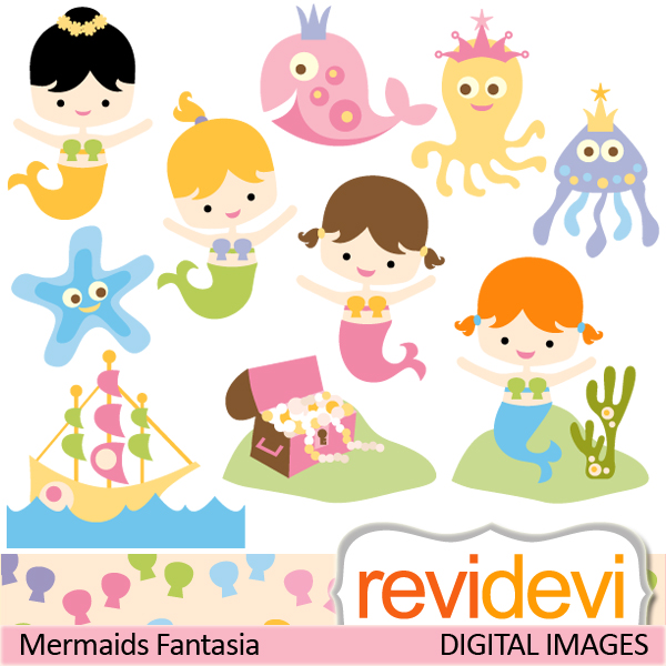 Baby Mermaid Clipart