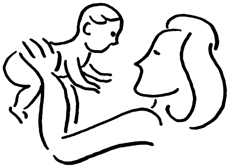 Mom baby . Infant clipart black and white