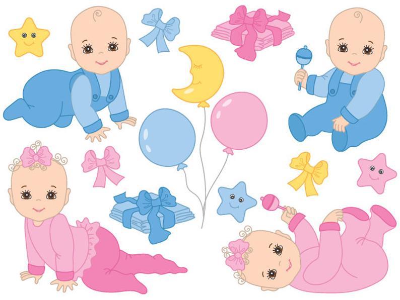 Babies clipart newborn. Baby digital vector girl