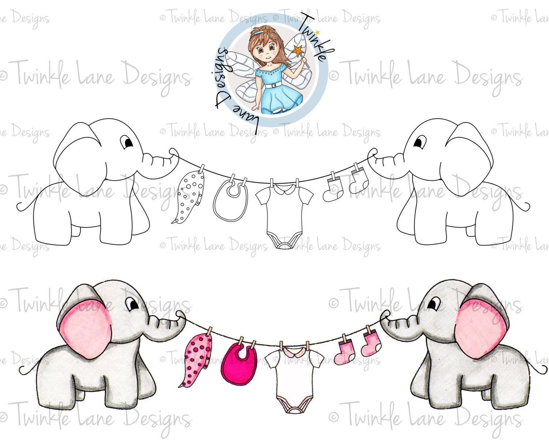 Baby clipart outline. Elephant digi stamp clothes