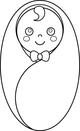 Black and white cilpart. Baby clipart line drawing
