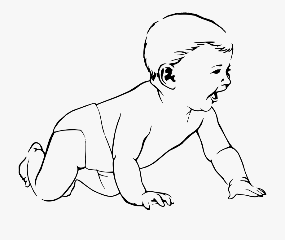 Baby clipart outline. Black and white