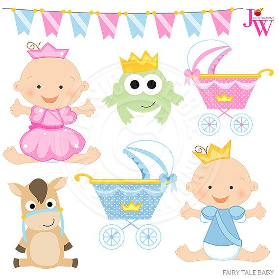 Baby clipart princess. Fairy tale cute digital