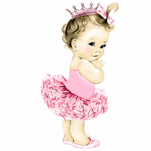 Baby clipart princess. Vintage pink ballerina girl