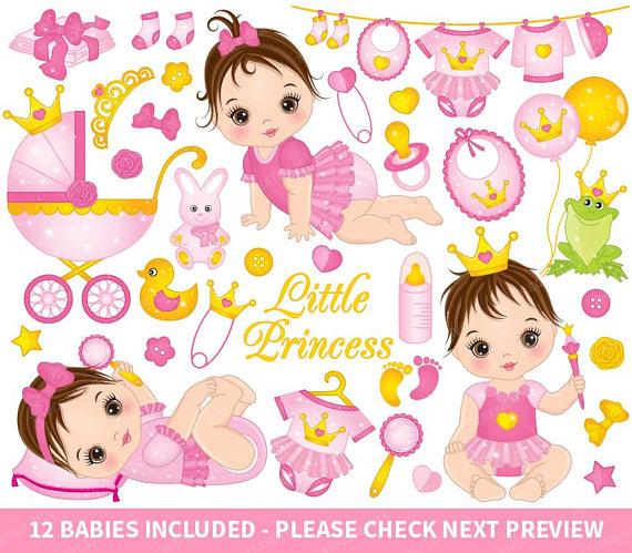 Girl vector . Baby clipart princess