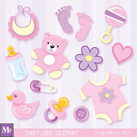 Babies clipart scrapbook. Baby girl illustrations instant