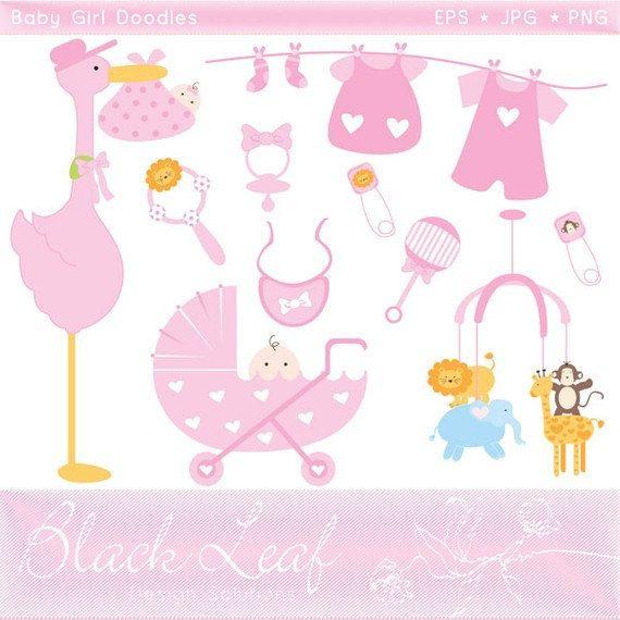 Babies clipart scrapbook. Baby girl doodles pink