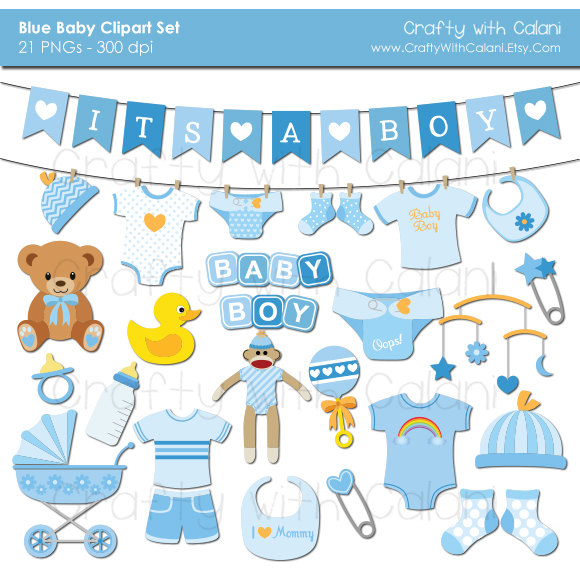 Boy shower instant download. Baby clipart scrapbook