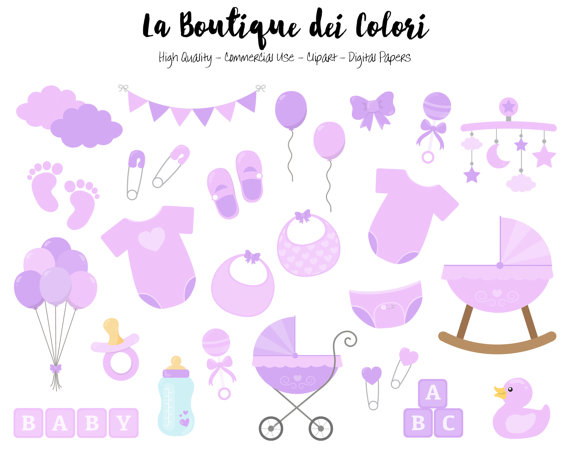 Purple girl cute graphics. Baby clipart scrapbook
