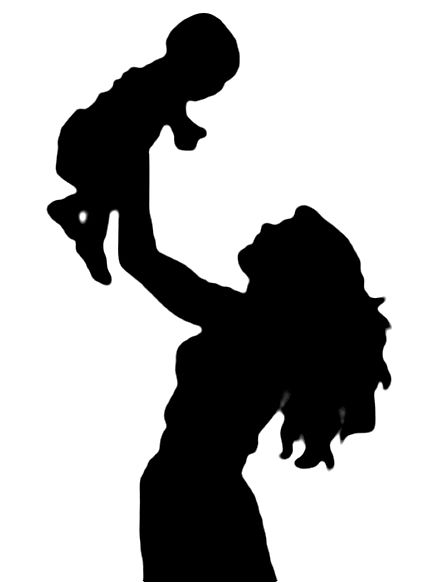 Mother clipart silhouette. Holding baby panda free