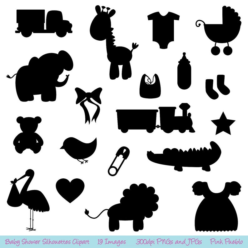 Shower silhouettes clip art. Baby clipart silhouette