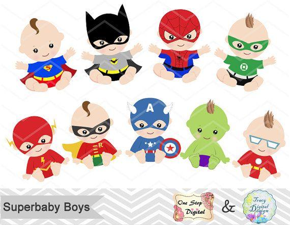 Digital baby boys clip. Babies clipart superhero