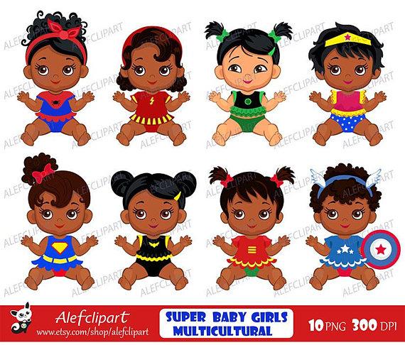 Baby clipart superhero. African american