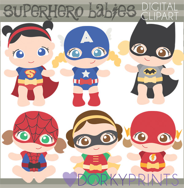 Personal and limited commercial. Baby clipart superhero