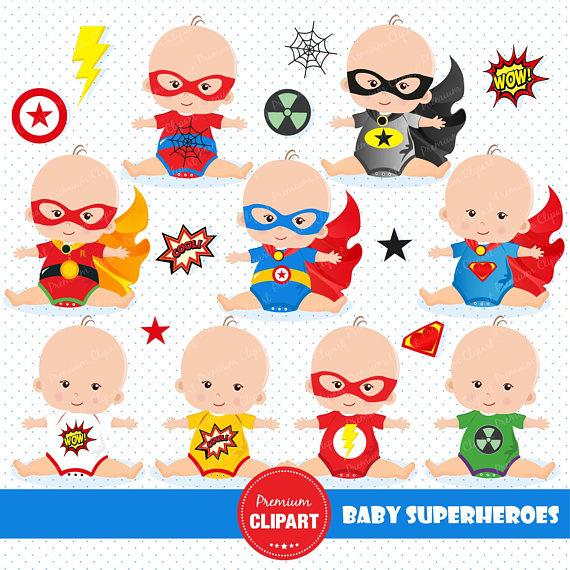 Superheroes tees babysuit clothes. Baby clipart superhero