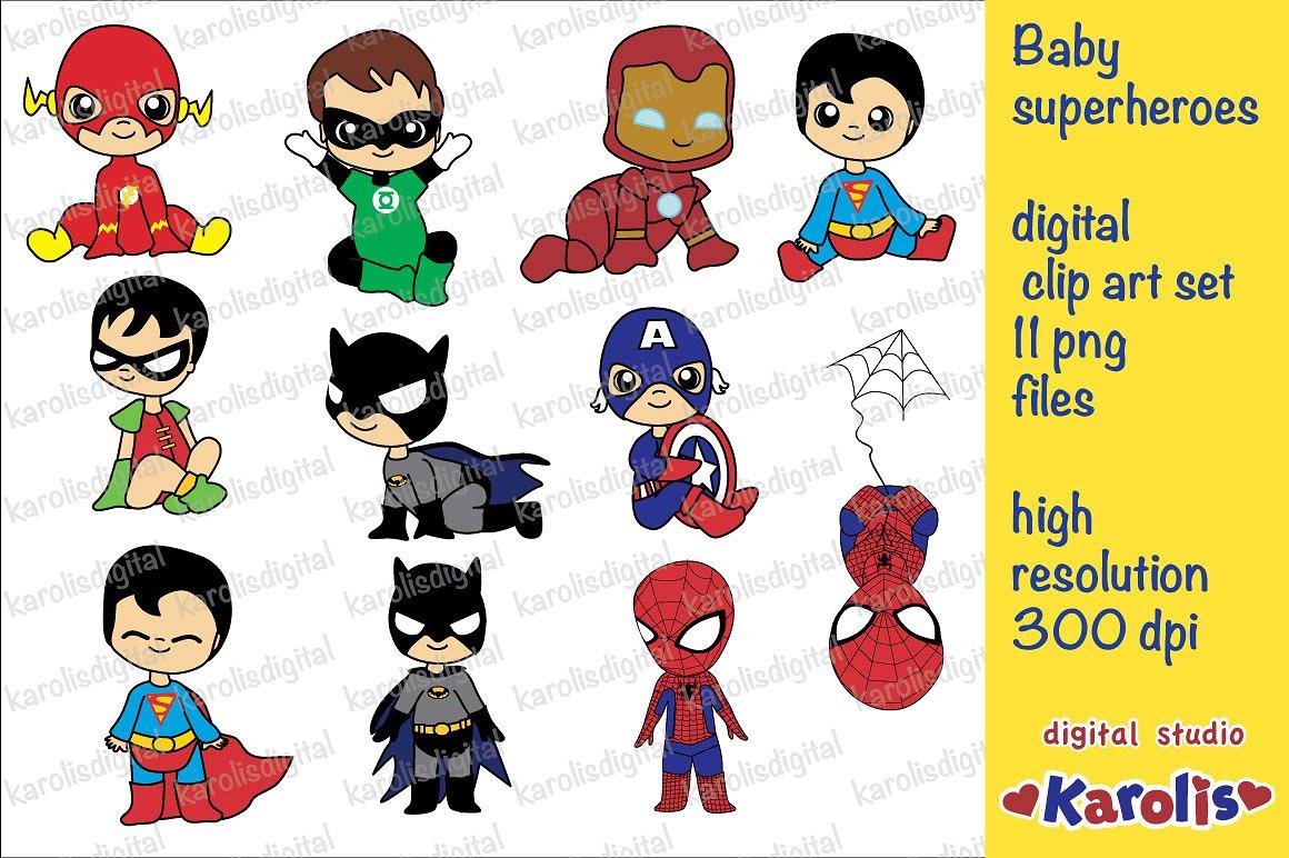 Superheroes clip art set. Baby clipart superhero