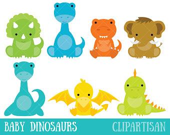 Watercolor dinosaur prehistoric animal. Babies clipart t rex