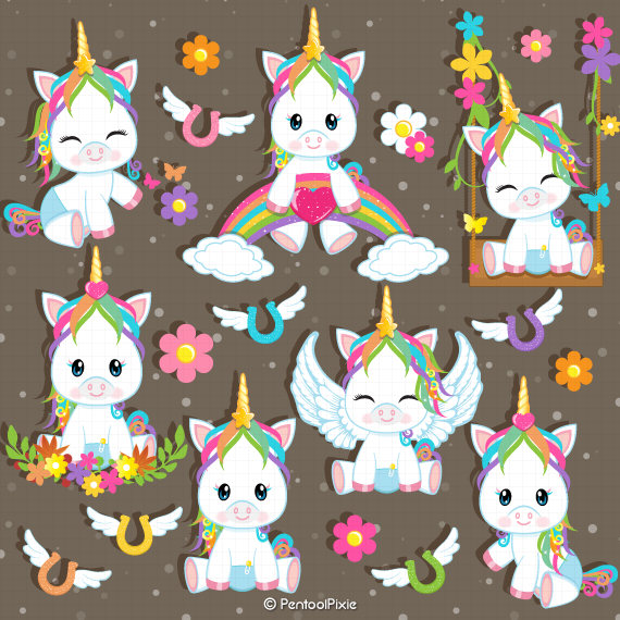 Baby Unicorn Clipart Unicorn baby shower Unicorn Clip Art