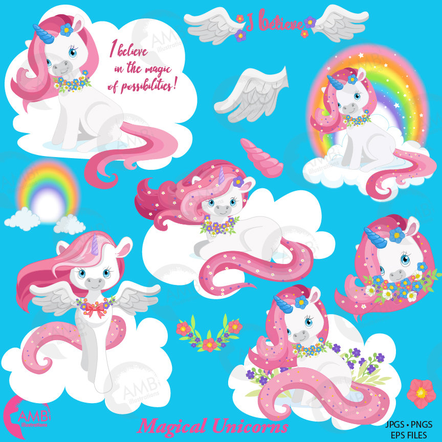 Amb white and pink. Baby clipart unicorn