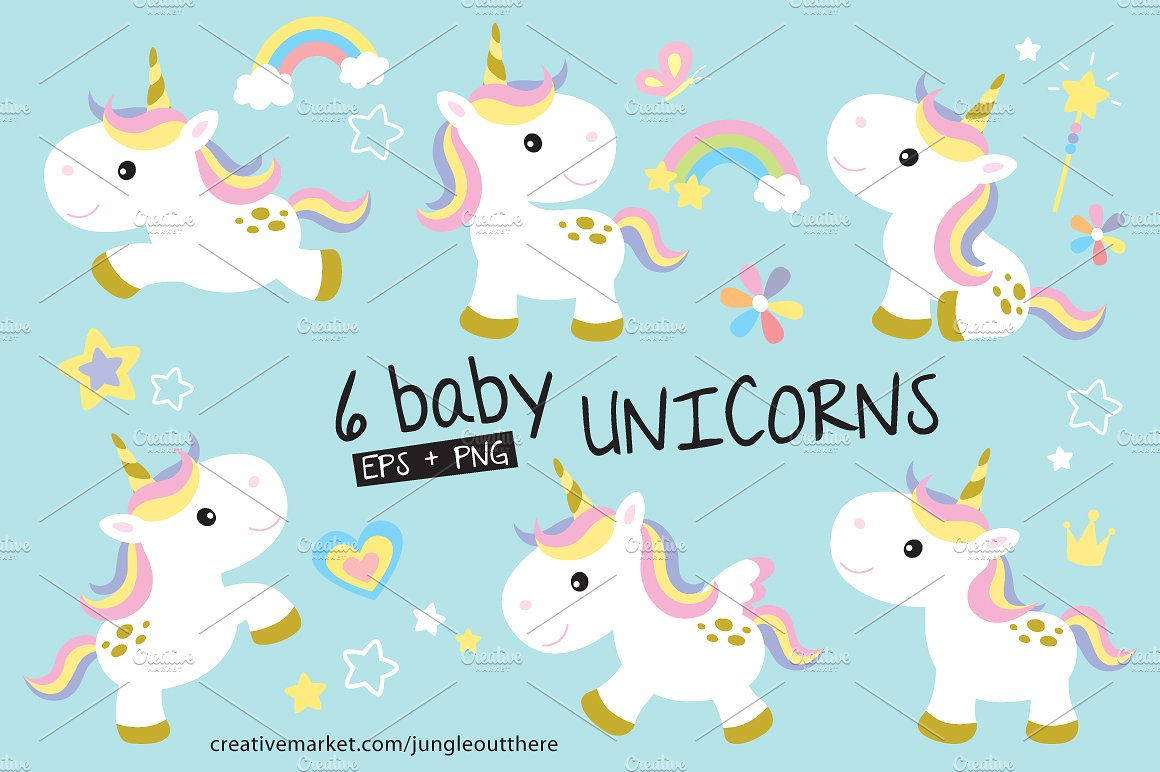 Baby clipart unicorn. Vector and png set