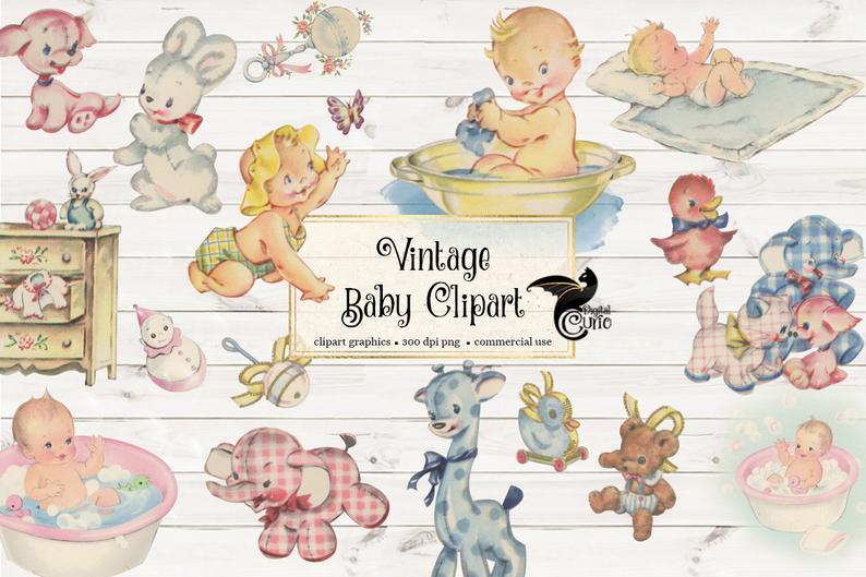 Baby antique shower clip. Babies clipart vintage