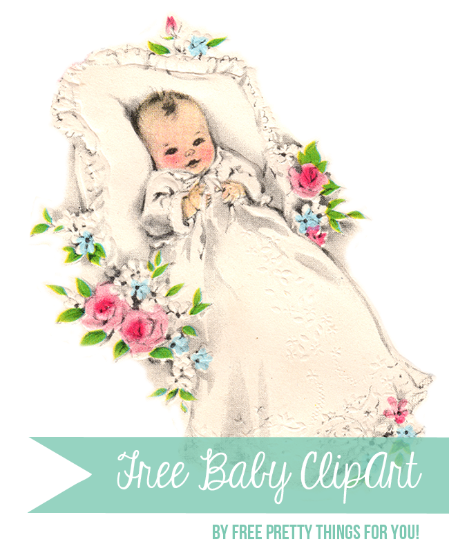 Free large baby clip. Babies clipart vintage