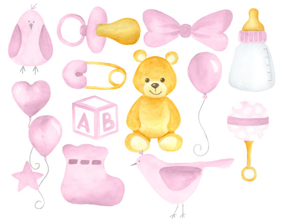 Baby clipart watercolor. Girl set soft pink