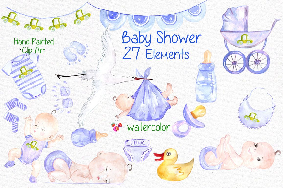 Baby clipart watercolor. Boy shower