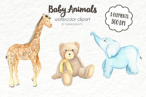 Clip art animals illustrations. Baby clipart watercolor