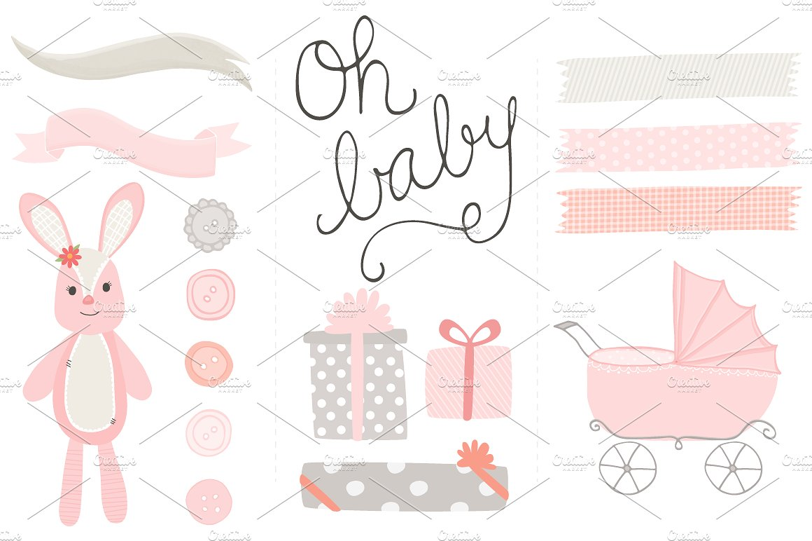 Oh girl clip art. Baby clipart watercolor