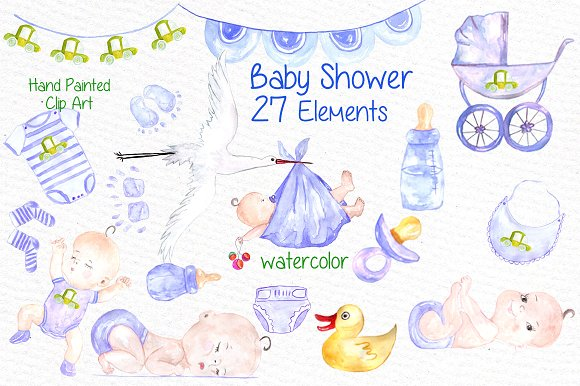 Watercolor boy baby shower clipart