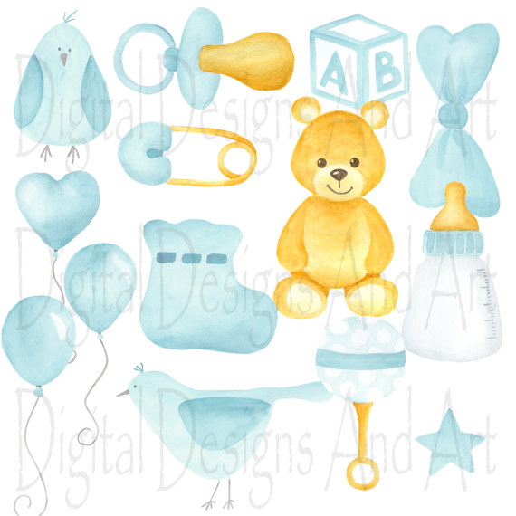 Baby clipart watercolor. Boy soft blue illustration