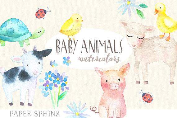Baby clipart watercolor. Animals springtime farm pig