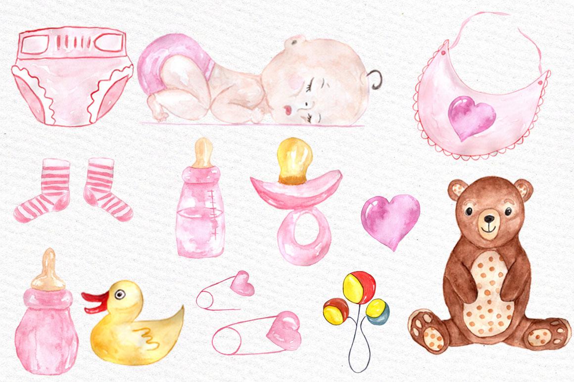 Baby clipart watercolor. Shower girl by vivastarkids