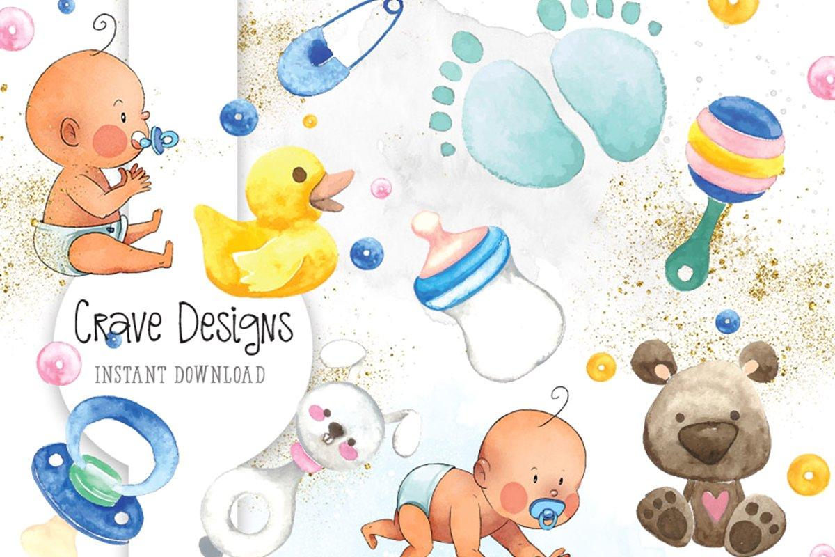 Clip art . Baby clipart watercolor