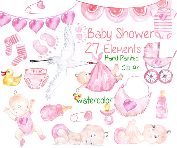 Baby clipart watercolor. Girl shower