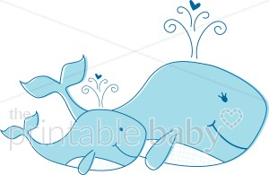 Clipart whale mom baby. And water creatures