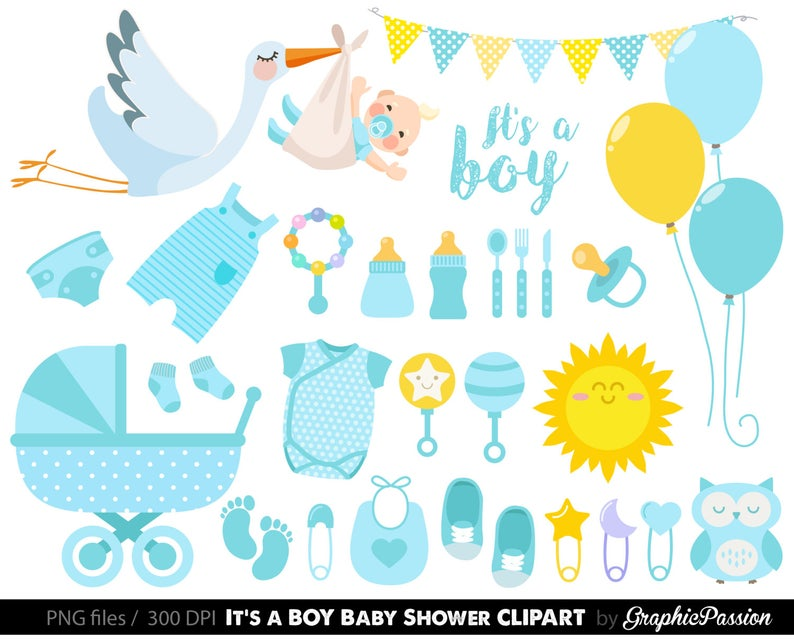 Baby clipart baby shower. Boy blue instant download