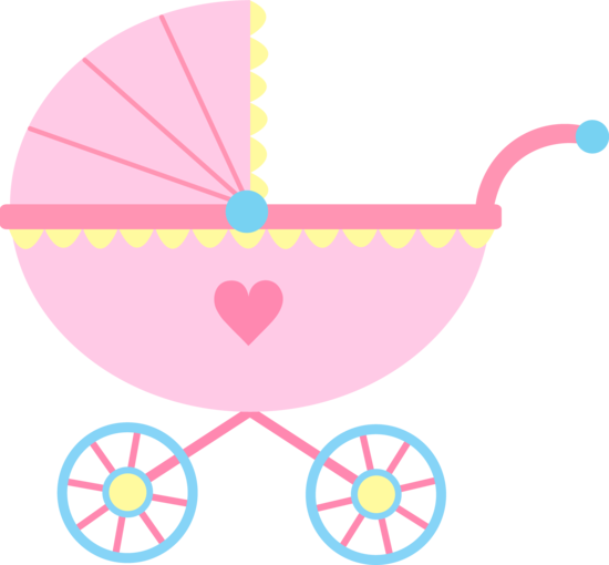 Girl cute pink carriage. Baby clipart baby shower