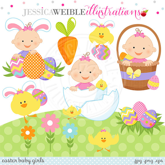 Easter Baby Girl Cute Digital Clipart