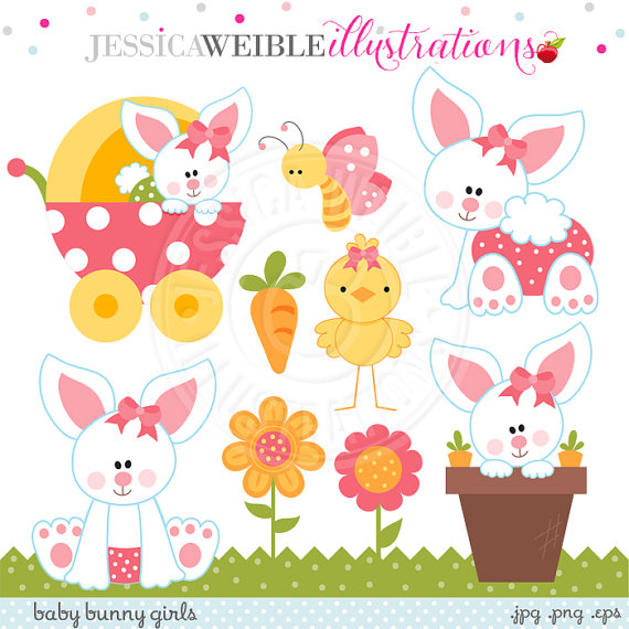 Bunny girls cute digital. Baby clipart easter