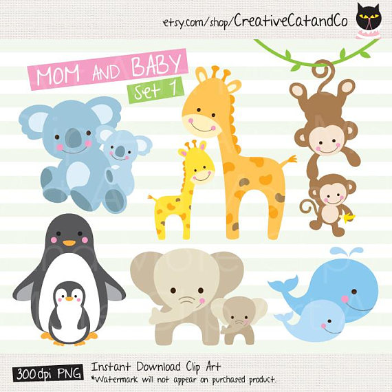 Baby clipart family. Animal and mom