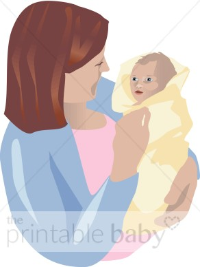 Mom with newborn clip. Baby clipart family
