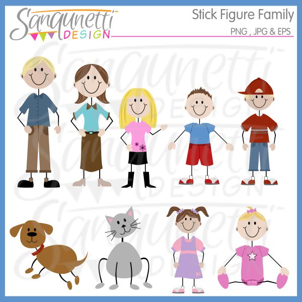 Baby clipart family. Sanqunetti design stick figure