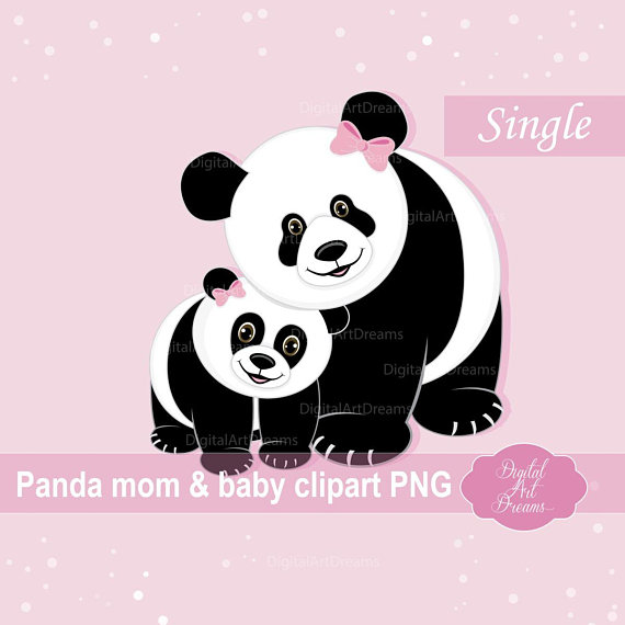 Baby clipart family. Panda mom and cute