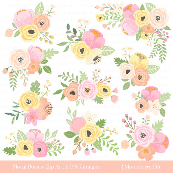 Floral posies wedding bridal. Baby clipart flower