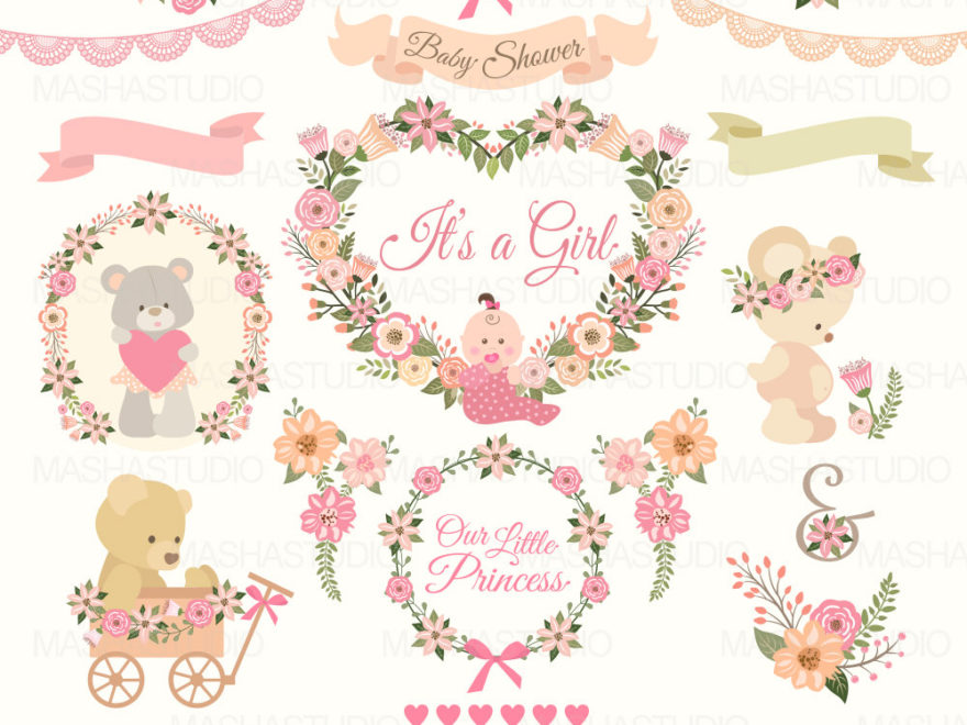 Baby clipart flower. Shower girl with pink